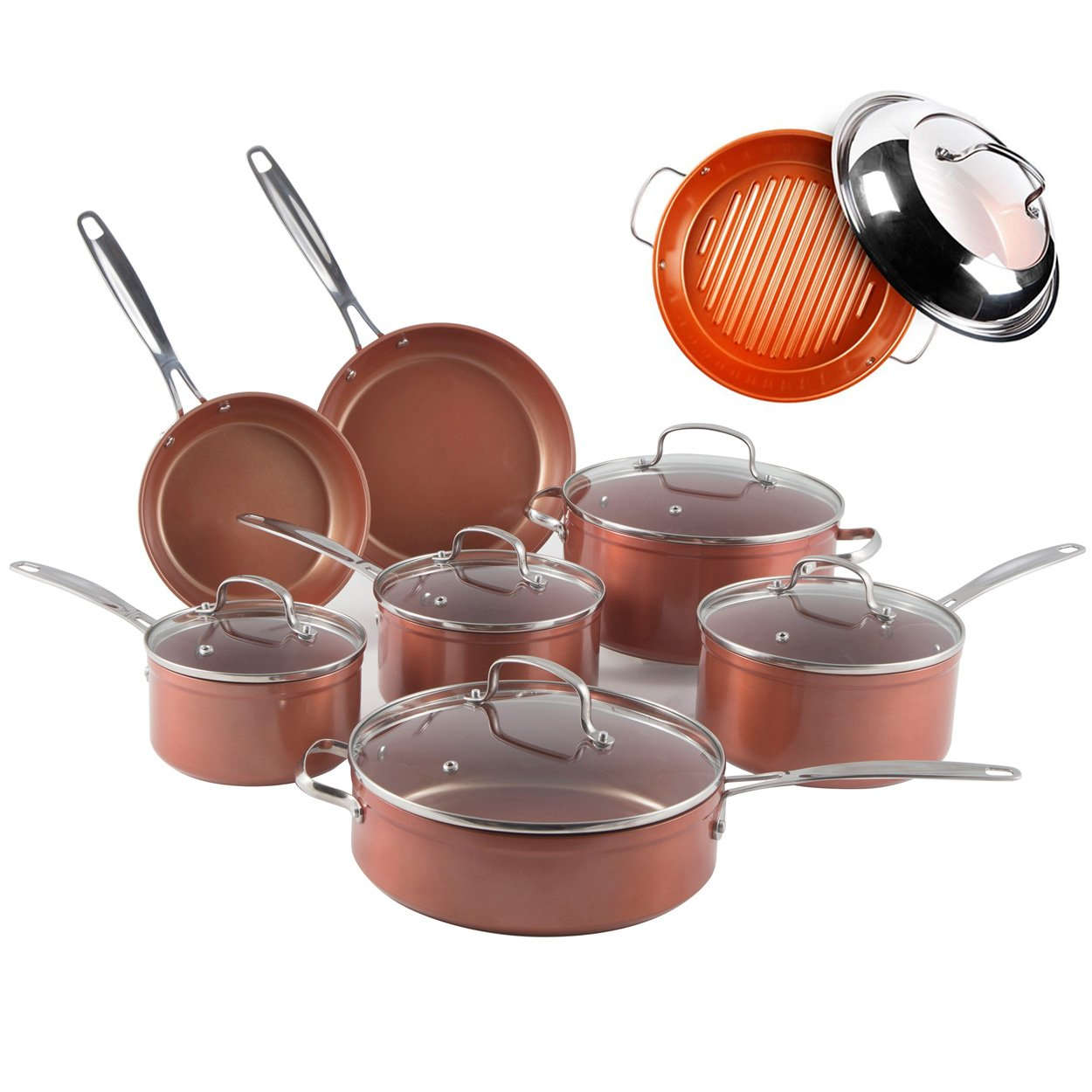 NuWave Duralon Ceramic Nonstick 12-Piece Cookware Set (Cookware w/ Grill Pan) by NuWave