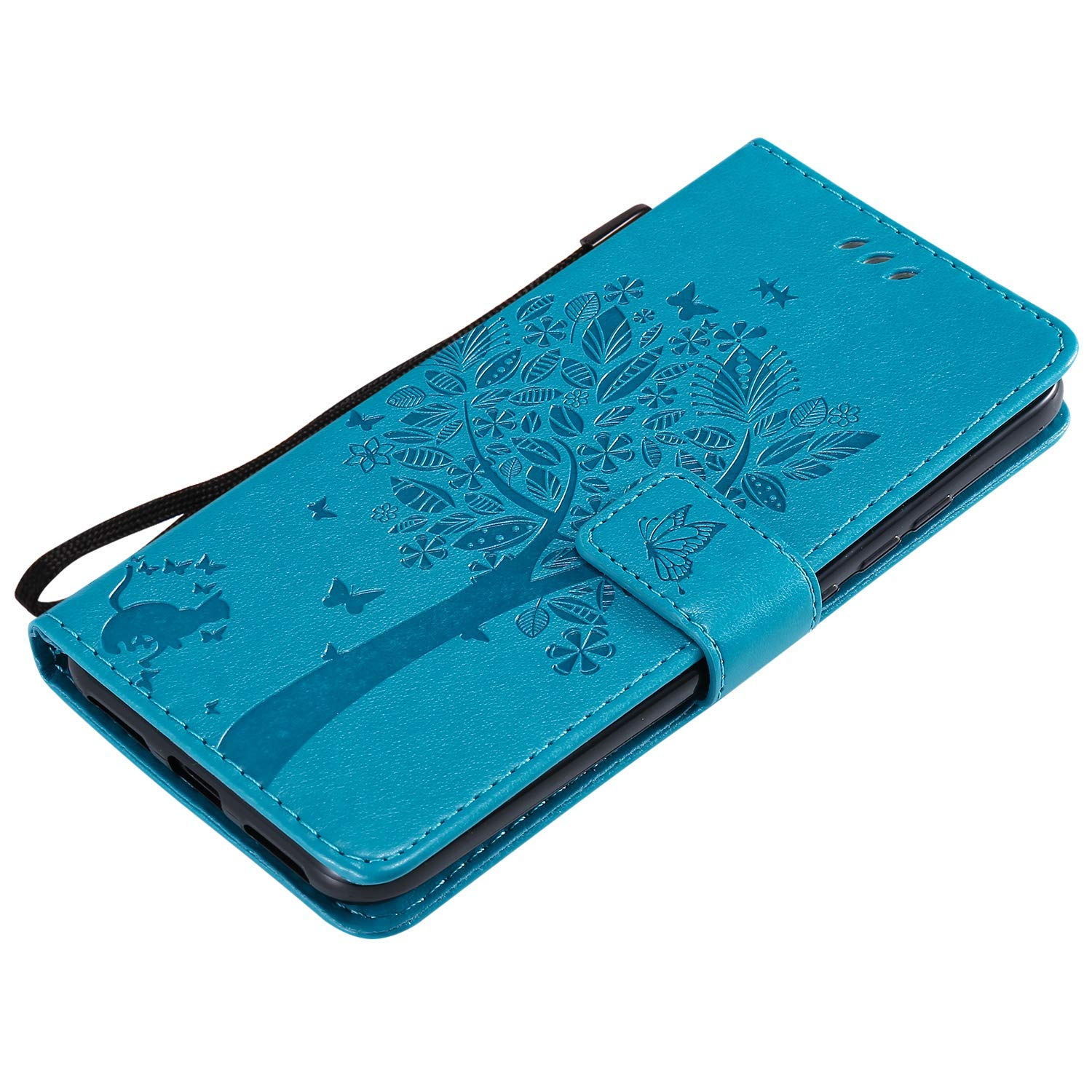 IKASEFU Compatible with MOTO G7 Play Case Emboss Pu Leather Wallet Strap Case Card Slots Shockproof Magnetic Kickstand Feature Slim Fit Folio Flip Book Cover Protective Bumper Case,Blue