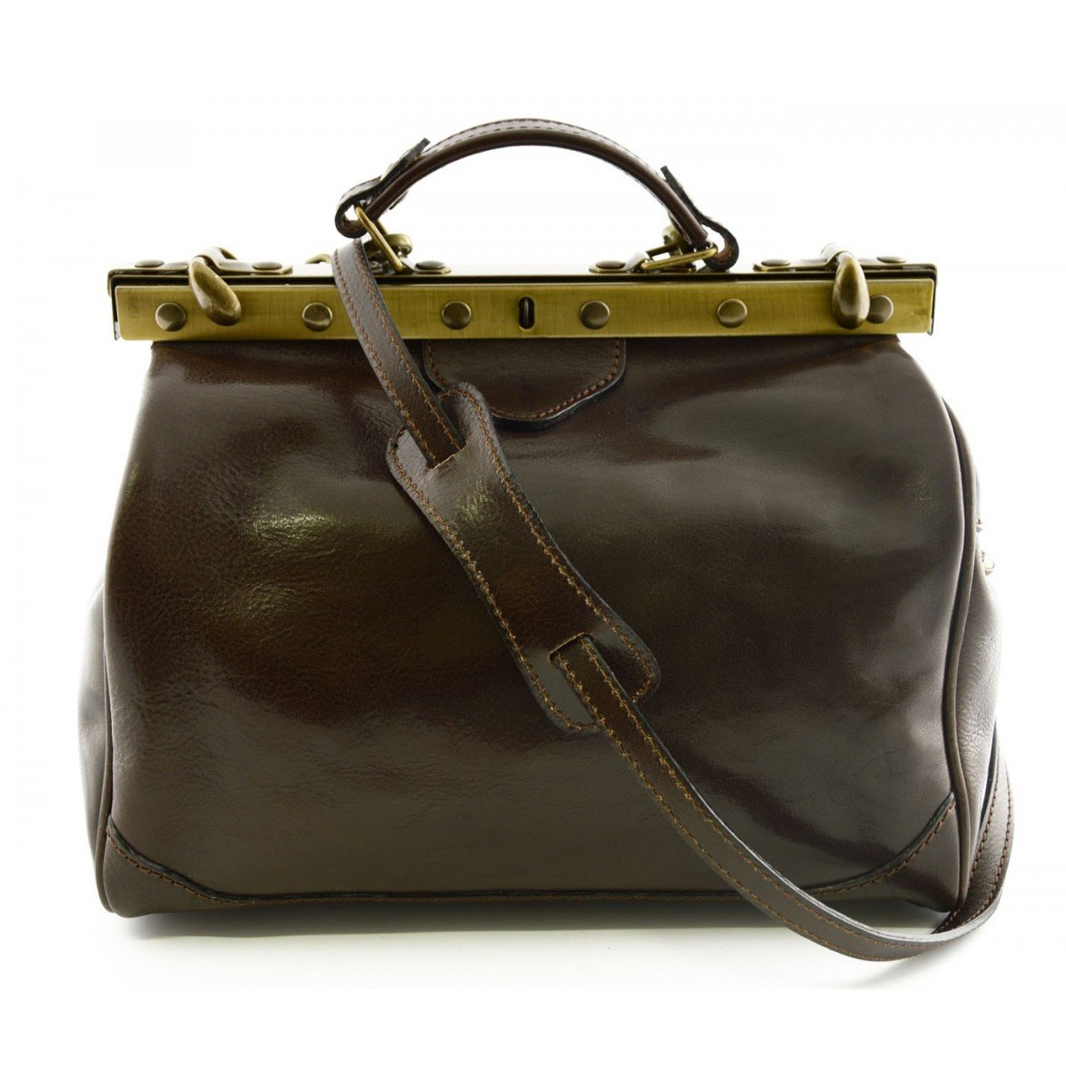 Made In Italy Genuine Leather Bag For Doctor Color Dark Brown - Business Bag   B015S9X6ZS