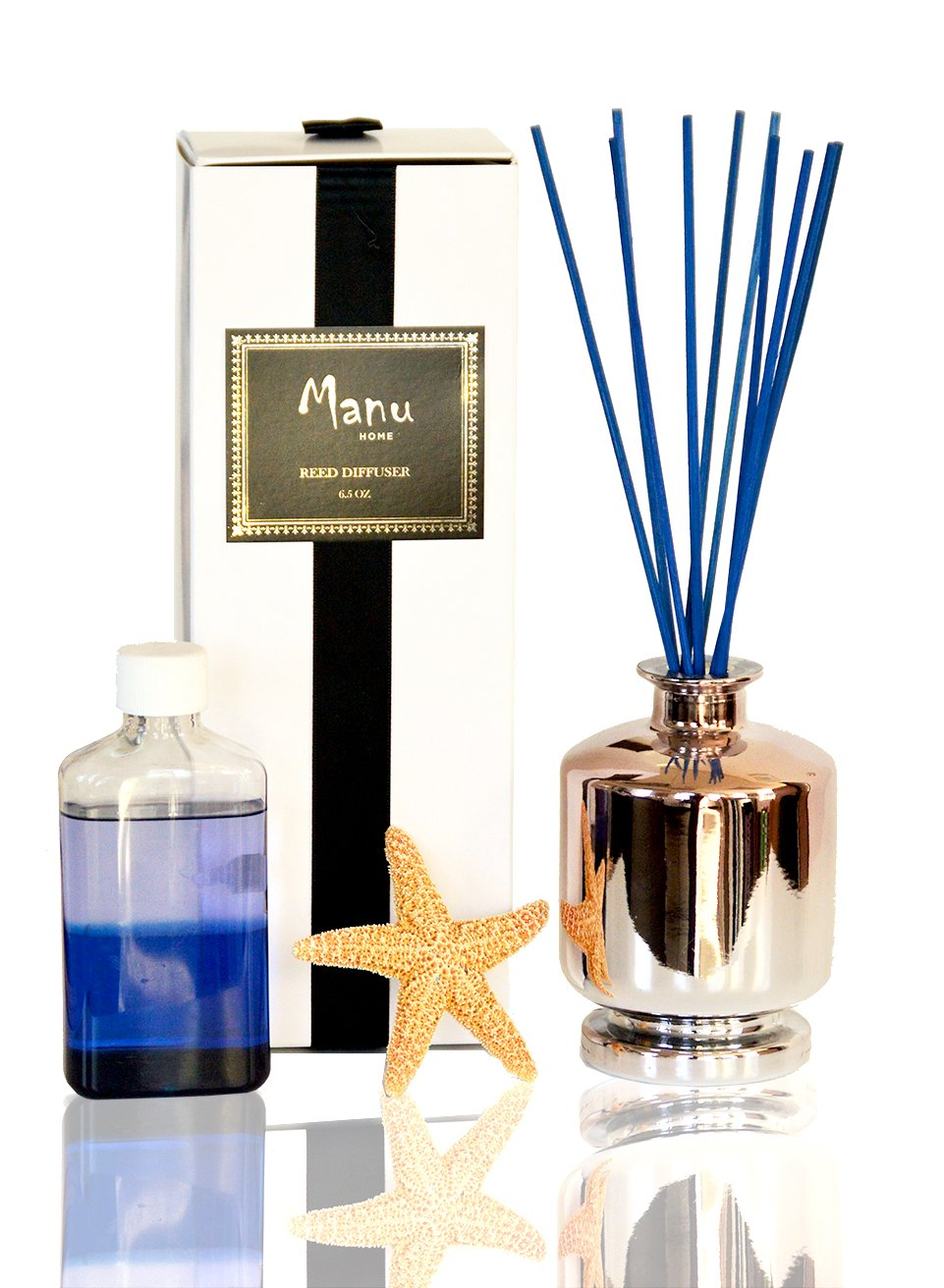 Manu Home Ocean Breeze Waters Reed Diffuser ~ 6.5 oz bottled in Ombre Apothecary-style Reusable glass jar + 4.5 Refill Included! Two sets of Natural Sticks (blue & natural) -Made in the USA!