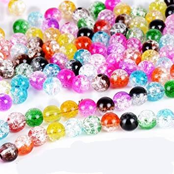 100Pcs Mixed Color Crystal Crack Glass Round Loose Spacer Beads 4 mm