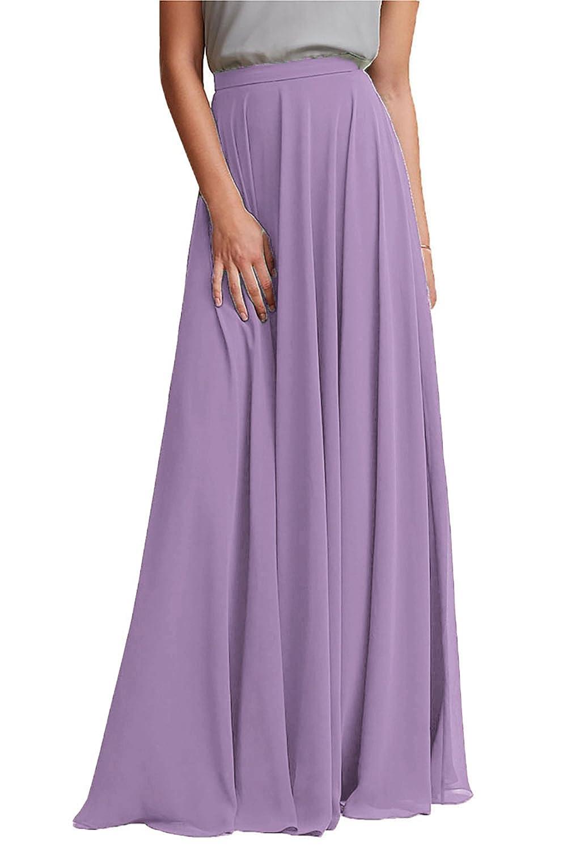 Honey Qiao Chiffon Bridesmaid Dresses High Waist Long Woman Maxi Skirt MD016