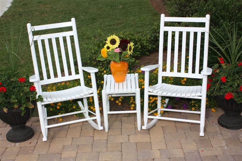 2 Rockers And Table Set Medium Back White
