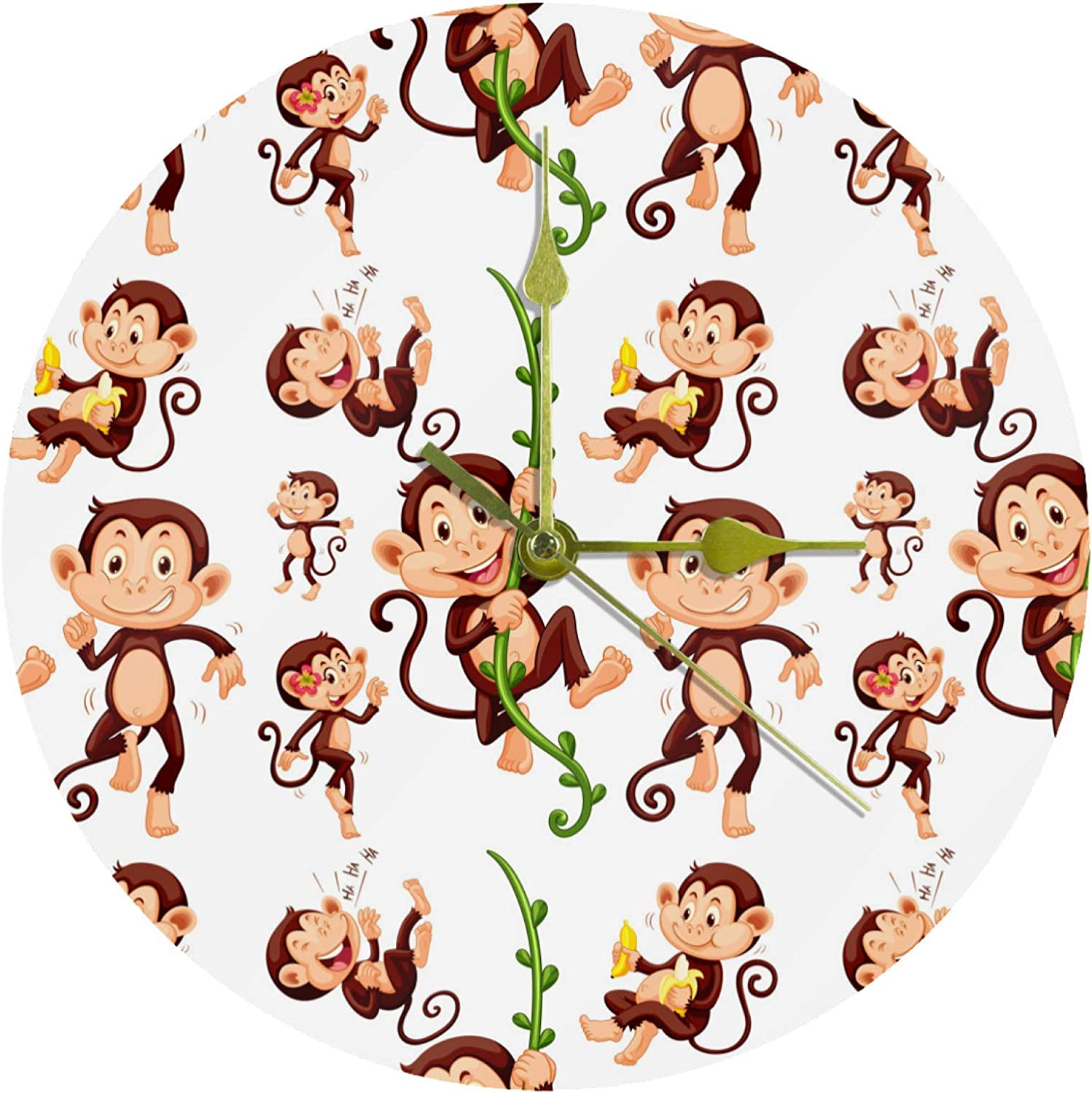 Sock Monkeys Wall Clock Silent Non Ticking - 10 Inch Quality Quartz Battery Operated Round Easy to Hand Home/Office/Classroom/School Clock