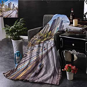 Luoiaax Travel Decor Bedding Flannel Blanket Downtown Cityscape of Los Angeles California USA Avenue Buildings Palms Super Soft and Comfortable Luxury Bed Blanket W54 x L72 Inch Blue Grey Green