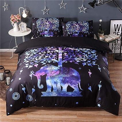 Biancheria da letto Stile etnico 3D Elefante viola e albero Camera ...