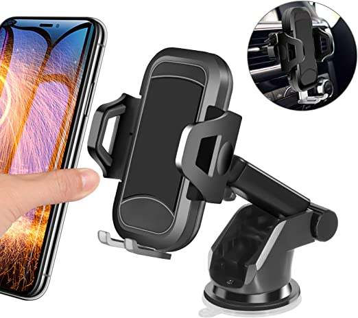 Amazon Com Car Phone Mount Henkur Cell Phone Holder For Car Dashboard Windshield Air Vent Upgraded Phone Stand Strong Suction Compatible With Iphone 11 Pro Max X Xs Xr 8 7 6s Plus