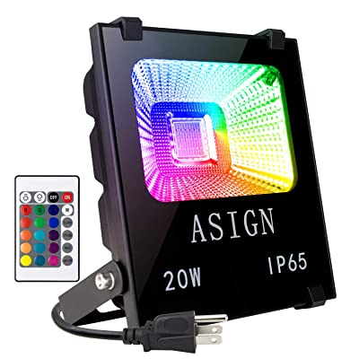 Big Sale!20W RGB LED Flood Lights, Indoor Outdoor Decoration Light Waterproof Color Changing LED Security Light with Remote Control, Dimmable Wall Washer Lights with US 3-Plug [5Bkhe1907219]
