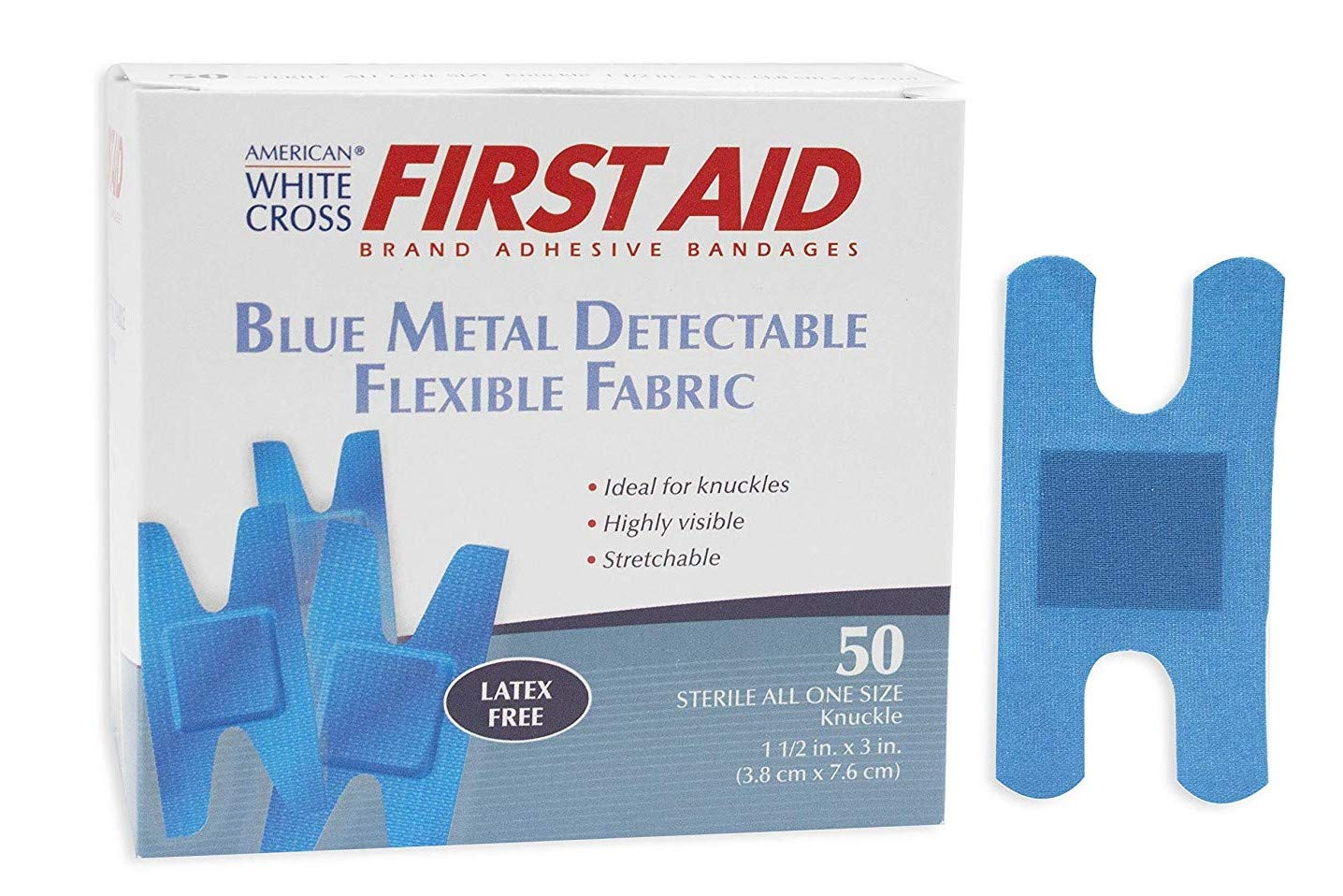 Image of Adhesive Bandages American White Cross Blue Metal Detectable Adhesive Strips, Sterile, Foam, 1-1 per 2' x 3' Knuckle, 2800 per Roll, 6 Roll per Case (Pack of 16800)