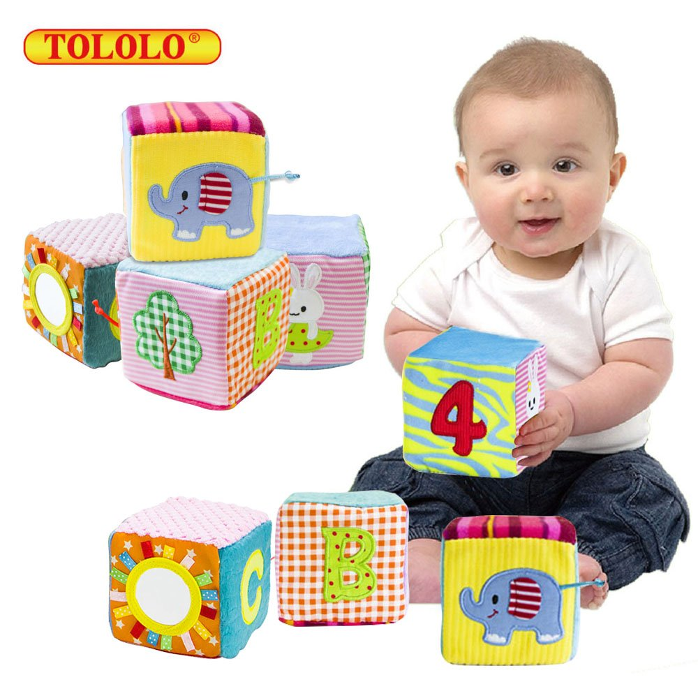 TOLOLO 4PC Infant Baby Cloth Soft Animal Rattle Toy; Foam Grab and Stack Building Blocks with Safety Mirror Cubes Toy Set baby Blocks Early Education Toy for 0-3 Years
