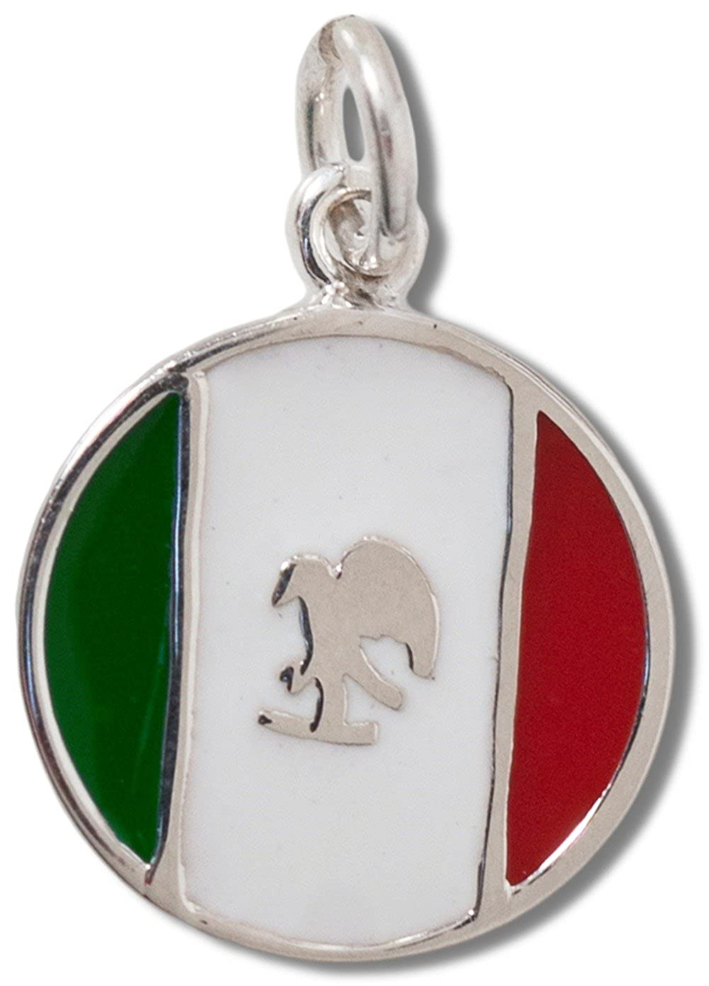 Sterling Silver Womens 1mm Box Chain Round Mexican Flag Symbol Pendant Necklace