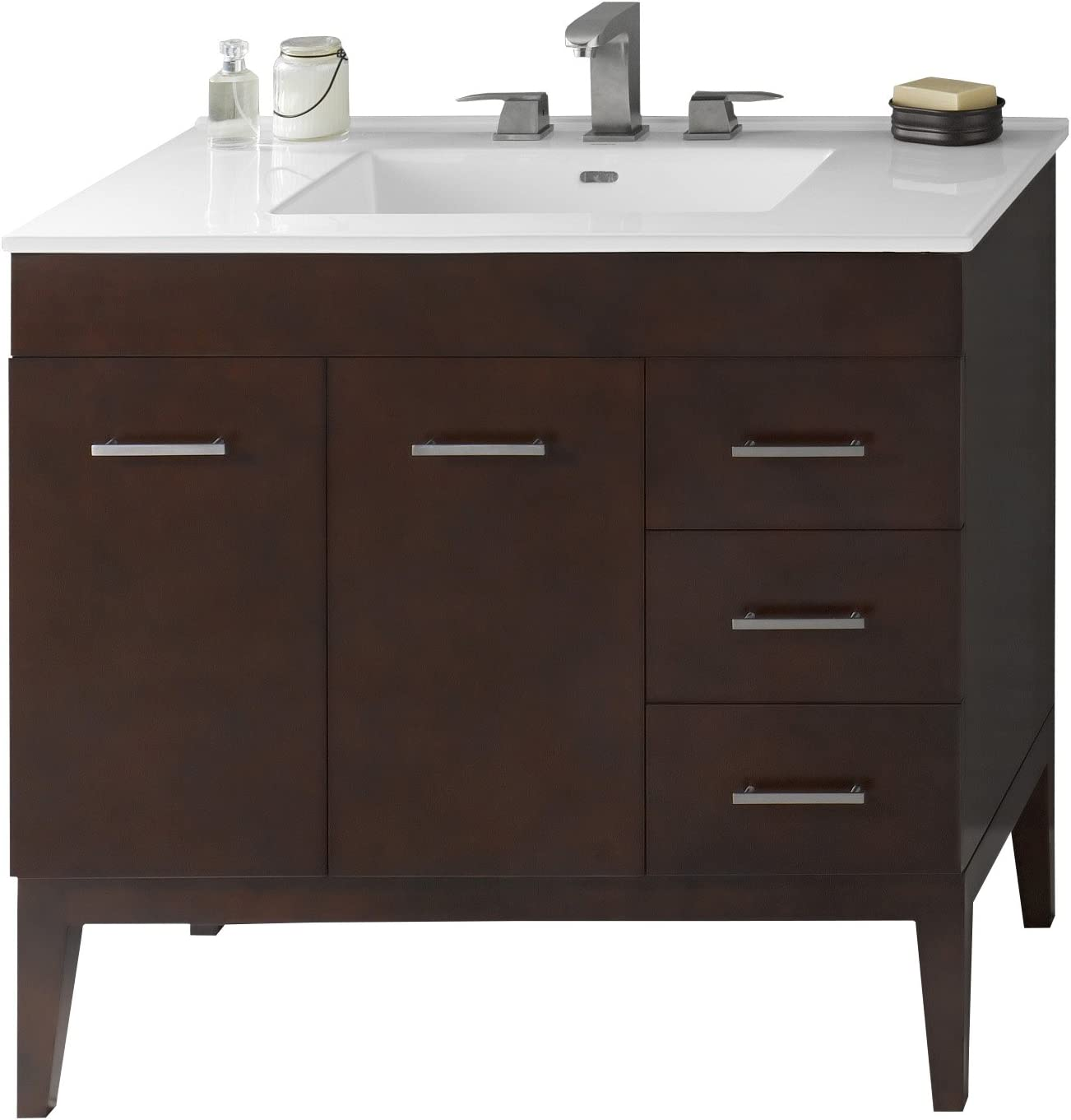 Amazon Com Ronbow Venus 37 Inch Bathroom Vanity Set In Dark Cherry Single Bathroom Vanity Cabinet With Soft Close Drawers White Larisa Bathroom Sink Top With 8 Inch Widespread Faucet Hole 037036 7l H01 Kit 2 Kitchen
