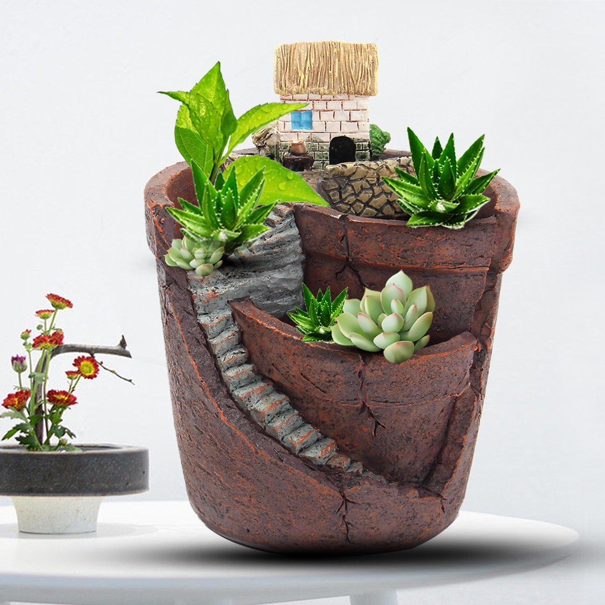 KINGSO Micro Landscape Ornament Plant Pot Planter Miniature Dollhouse for Fairy House Succulent Plant DIY Home Garden Decor 3.9''x4.7''