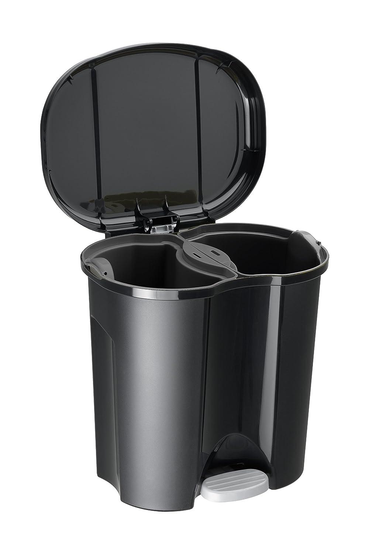 20 L, Negro, Pedal, 390 mm, 320 mm, 405 mm Cubo de Basura Rotho Duo 20L Negro