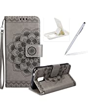 Rope Leather Case for Samsung Galaxy S5,Strap Wallet Case for Samsung Galaxy S5,Herzzer Bookstyle Classic Elegant Mandala Flower Pattern Stand Magnetic Smart Leather Case with Soft Inner for Samsung Galaxy S5 + 1 x Free White Cellphone Kickstand + 1 x Free Silver Stylus Pen - Gray