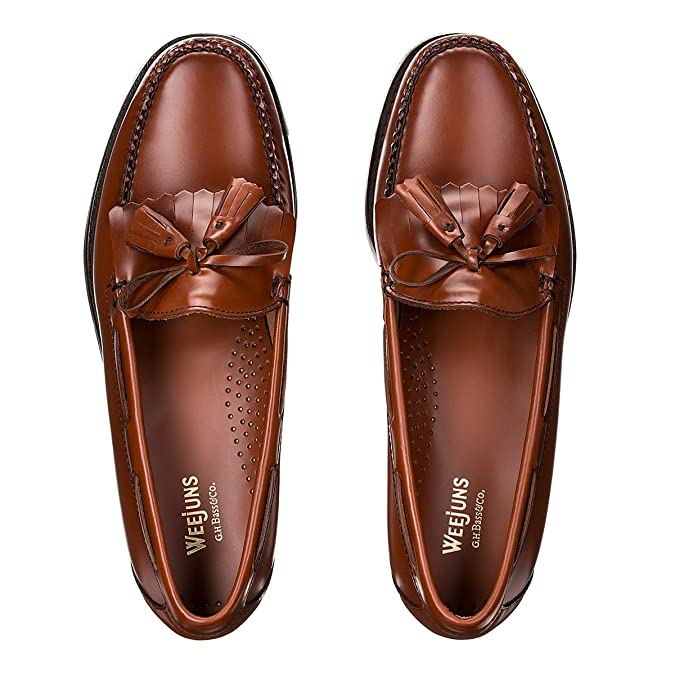 G.H. Bass Weejuns Layton Kiltie Loafers Mid Brown Leather 10H:  Amazon.co.uk: Shoes & Bags