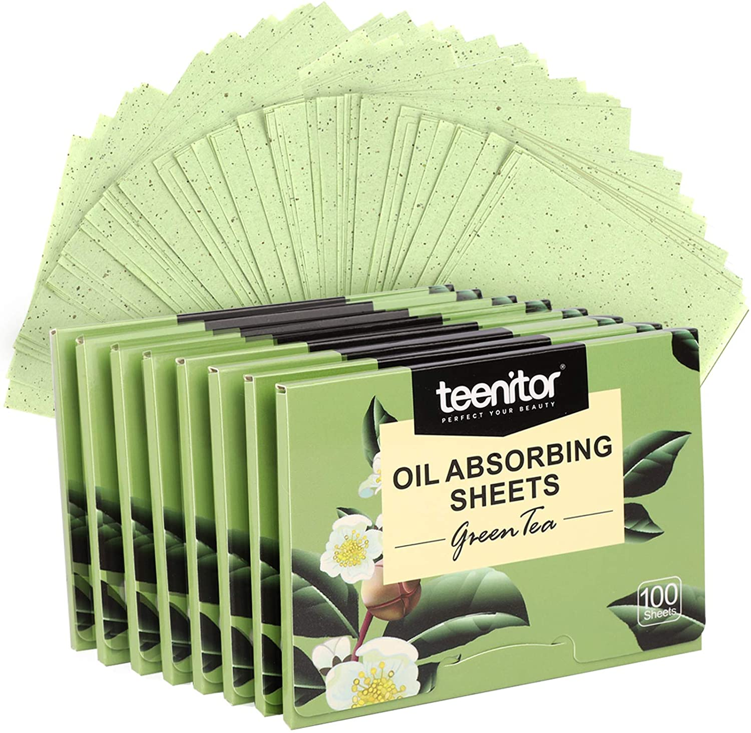 800 Counts Natural Green Tea Oil Control Film, Teenitor Oil Absorbing Sheets for Oily Skin Care, Blotting Paper to Remove Excess & Shine: Office Products