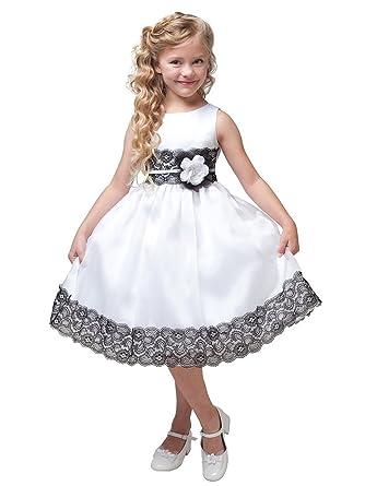 9698fae501f6 Amazon.com  Kid Collection White Satin Lace Organza Flower Girl ...