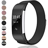 For Fitbit Charge 2 Bands Small and Large for Women Men, hooroor Milanese Loop Stainless Steel Metal Bracelet Strap with Unique Magnet Lock Replacement Wristbands for Fitbit Charge 2