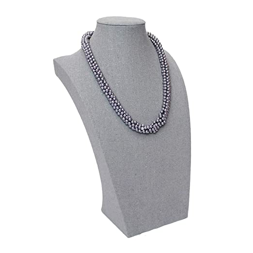 Amazon Com Ikee Design Gray Fabric Covered Linen Necklace Jewelry