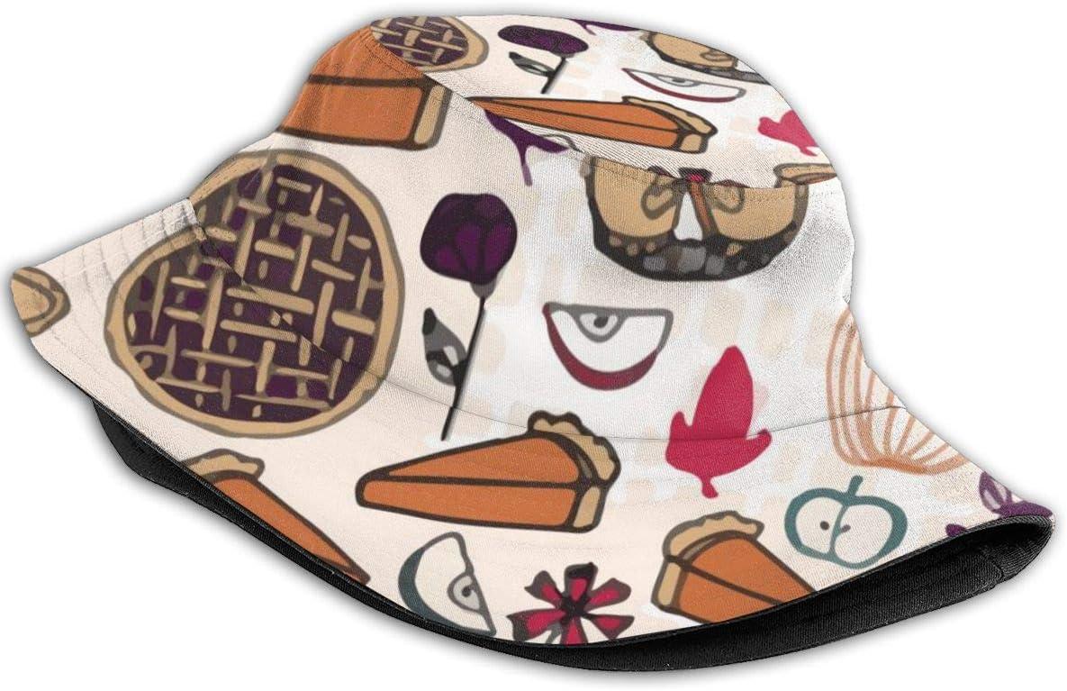 Augenstern Unisex Summer Boonie Cotton Fishing Hat Thanksgiving Pumpkin Apple Pie Camping Flat Top Novelty Bucket Hats Hiking Cap