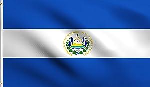DMSE El Salvador Salvadoran National Flag 3X5 Ft Foot 100% Polyester 100D Flag UV Resistant (3'X5' Ft Foot)