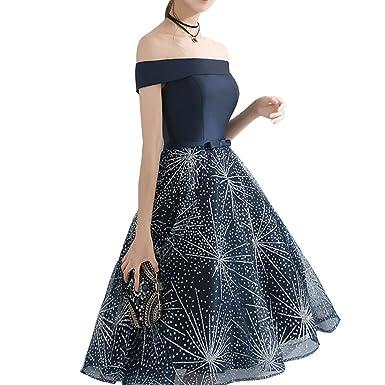 a5aeca24c560d Lemai Straight Off Shoulder Shiny Sequins Star Short Prom Juniors Evening  Dress Dark Navy US 2