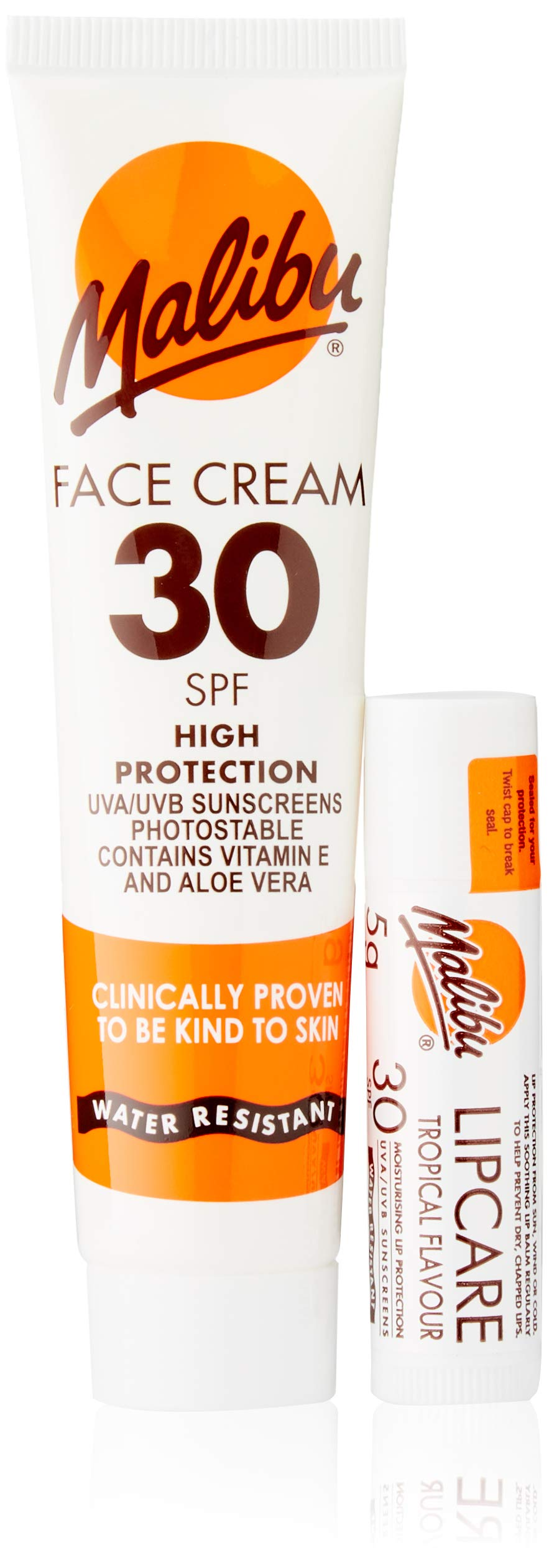 Malibu Duo Pack Sun Protection Face Cream and Lip Balm SPF 30 Water Resistant