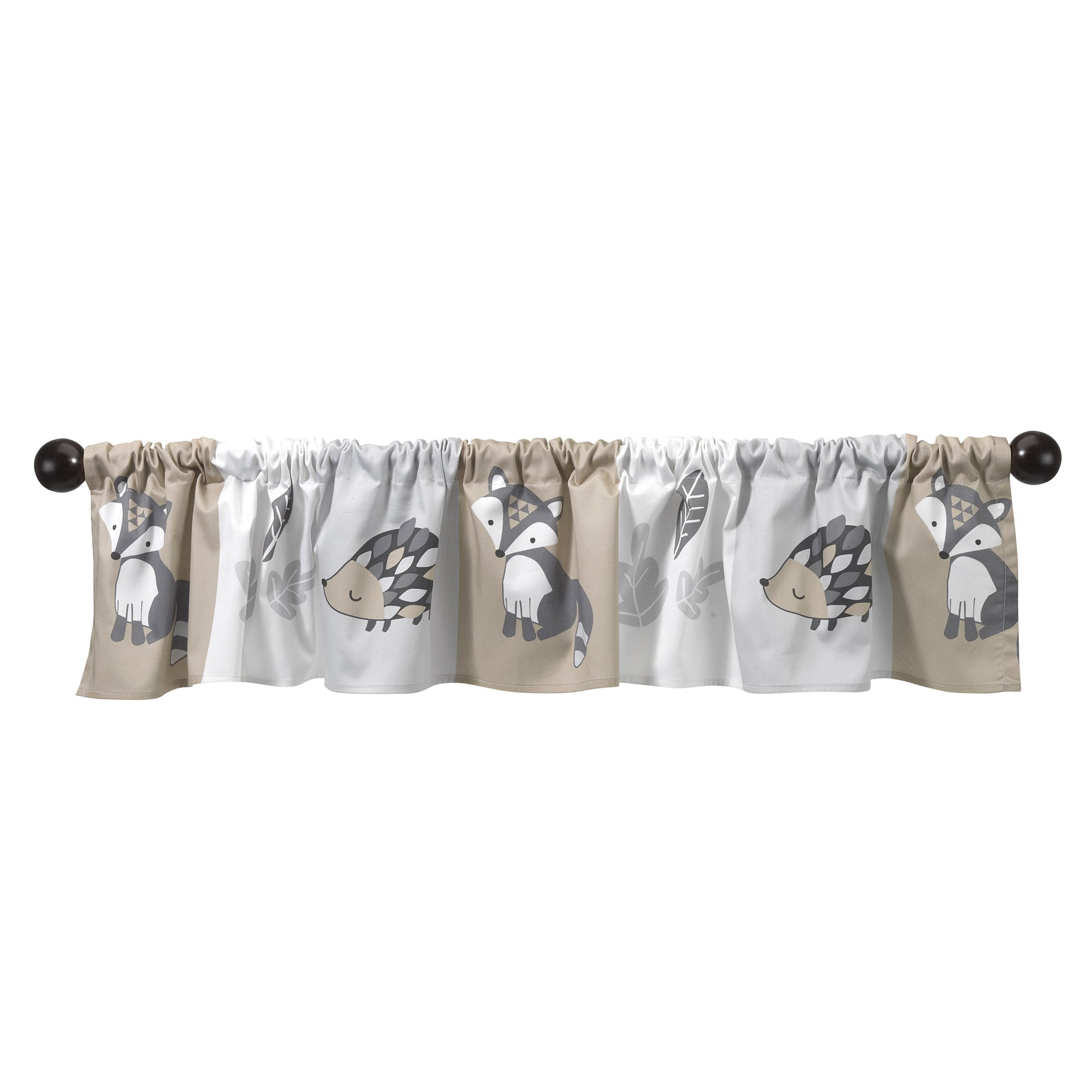 Bedtime Originals Little Rascals Forest Animals Window Valance, Gray/White