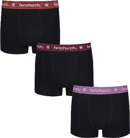 Para Hombre Fenchurch Fergus 3 Pack Calzoncillos Boxer en Negro 3 Pares Negro-Elástico