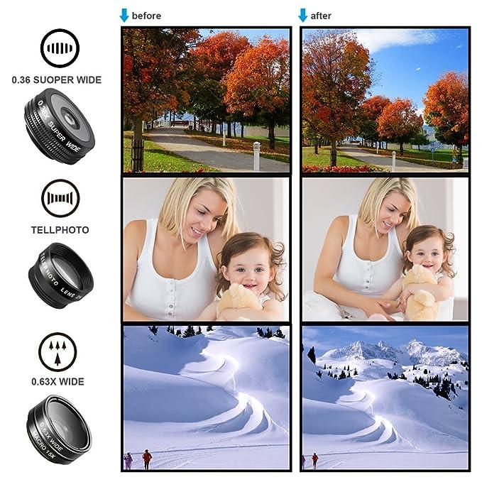 Kit de 7 lentes en 1 de LESHP; teleobjetivo, ojo de pez, gran angular, lente macro, lente CPL, lente de caleidoscopio, lente superancho: Amazon.es: ...
