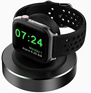Compatible for Apple Watch Charger Stand, KINGRUNNING Designed for iWatch Charging Stand Dock Compatible with Apple Watch Series 6/SE/5/4/3/2/1 44mm/42mm/40mm/38mm, Supports Nightstand Mode,Black