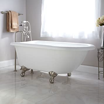 naiture 54 acrylic clawfoot tub oil rubbed bronze feet no overflow no drillings - Acrylic Clawfoot Tub