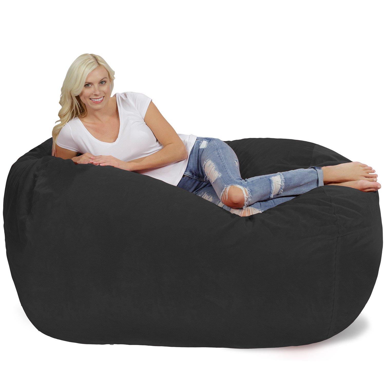 Chill Sack Memory Foam Bean Bag Lounger, 6-Feet, Dark Grey Pebble