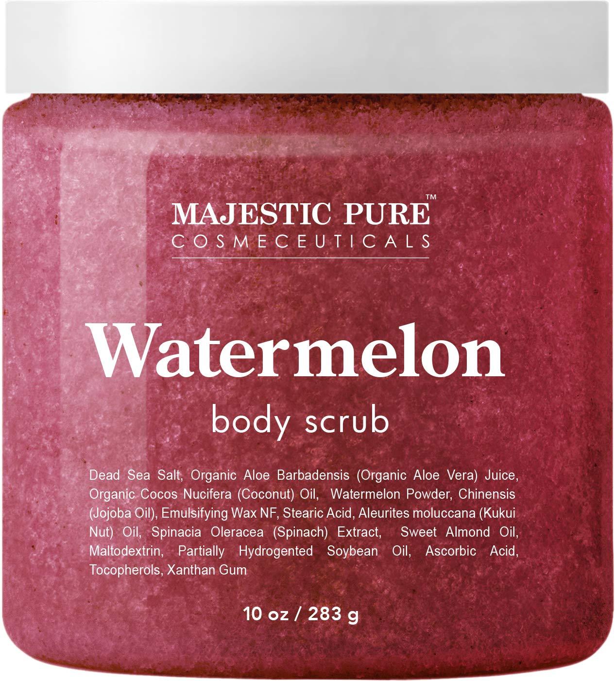 Majestic Pure Watermelon Body Scrub - Age Defying - Exfoliates, Hydrates, and Moisturizes Skin, 10 oz