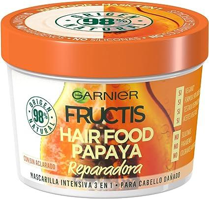 Garnier Fructis Hair Food Mascarilla Capilar 3 en 1 Papaya Reparadora para Pelo Dañado Pack de 3 - 390 ml x 3: Amazon.es: Belleza
