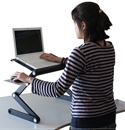 Magnificent Ergonomic Laptop Standing Desk W Mouse Pad 2 Fans 3 Usb Ports Adjustable Height Angle Sit To Stand Up Table Conversion Mac Book Cooler Cooling Download Free Architecture Designs Scobabritishbridgeorg