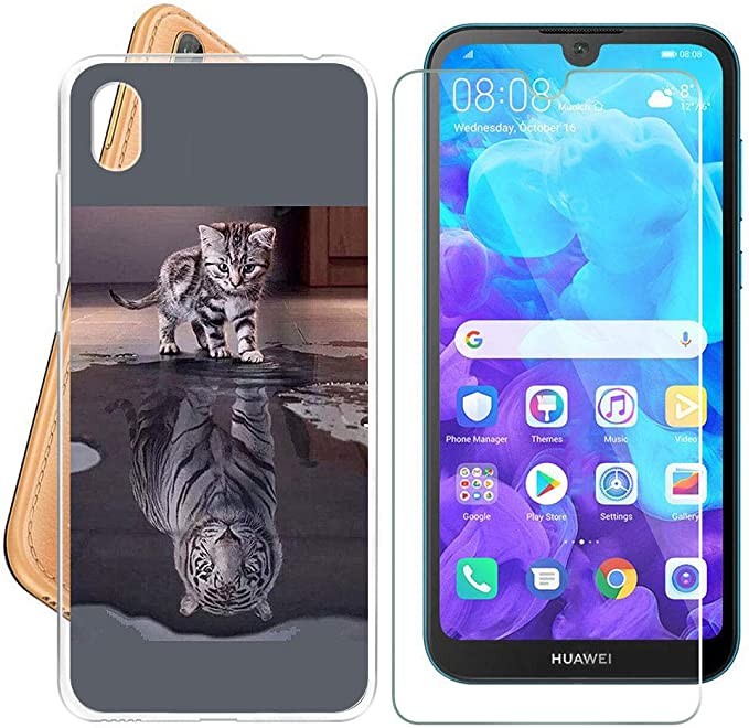 ZXLZKQ Coque Chat et Tigre pour Huawei Y5 2019 Silicone TPU ...