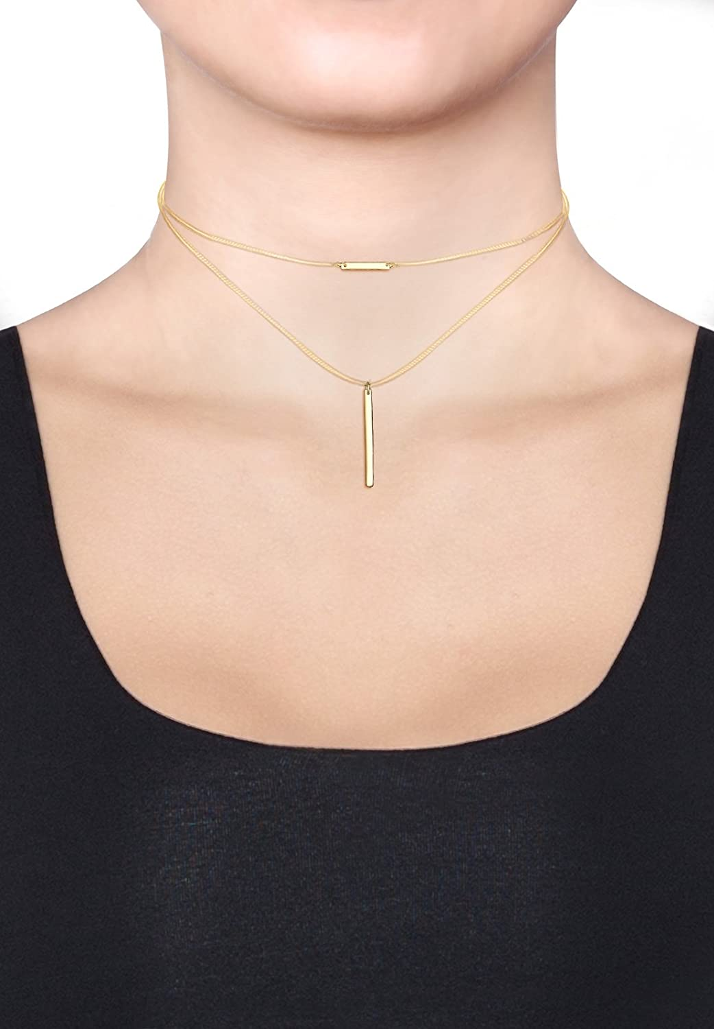 Elli Women Choker Geo Layer 925 Silver Gold Plated Necklace of Length 40cm 0103912317_40 D4ZwB