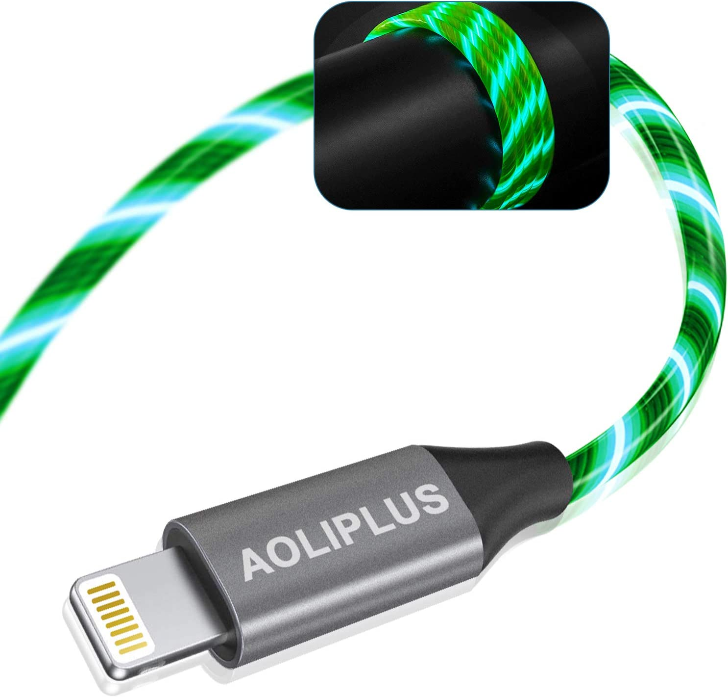 iPhone Charger, AOLIPLUS 6FT LED Lightning Cable [Apple MFi Certified ] USB Charging/Sync Lightning Cord Compatible with iPhone SE 12 11 11 Pro 11 Pro Max Xs MAX XR X 8 7 6S 6 5, iPad and More - Green