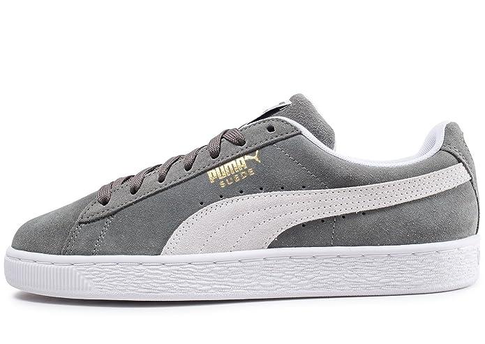 Puma Suede Classic Sneaker Damen Herren Unisex Wildleder Grau mit Weißem Streifen (Castor Gray)