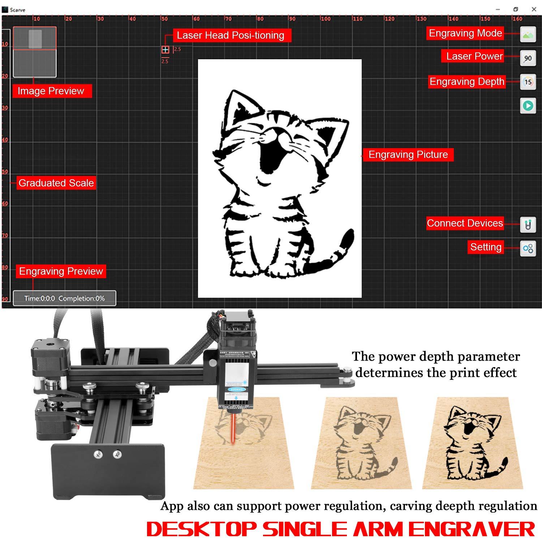 Convient pour Win XP7 170 8//10 Zone de d/écoupage KKmoon 20W Gravure de Bureau /à un bras Portable Gravure de Bricolage Portable Machine de Sculpture Mini Carver 220mm