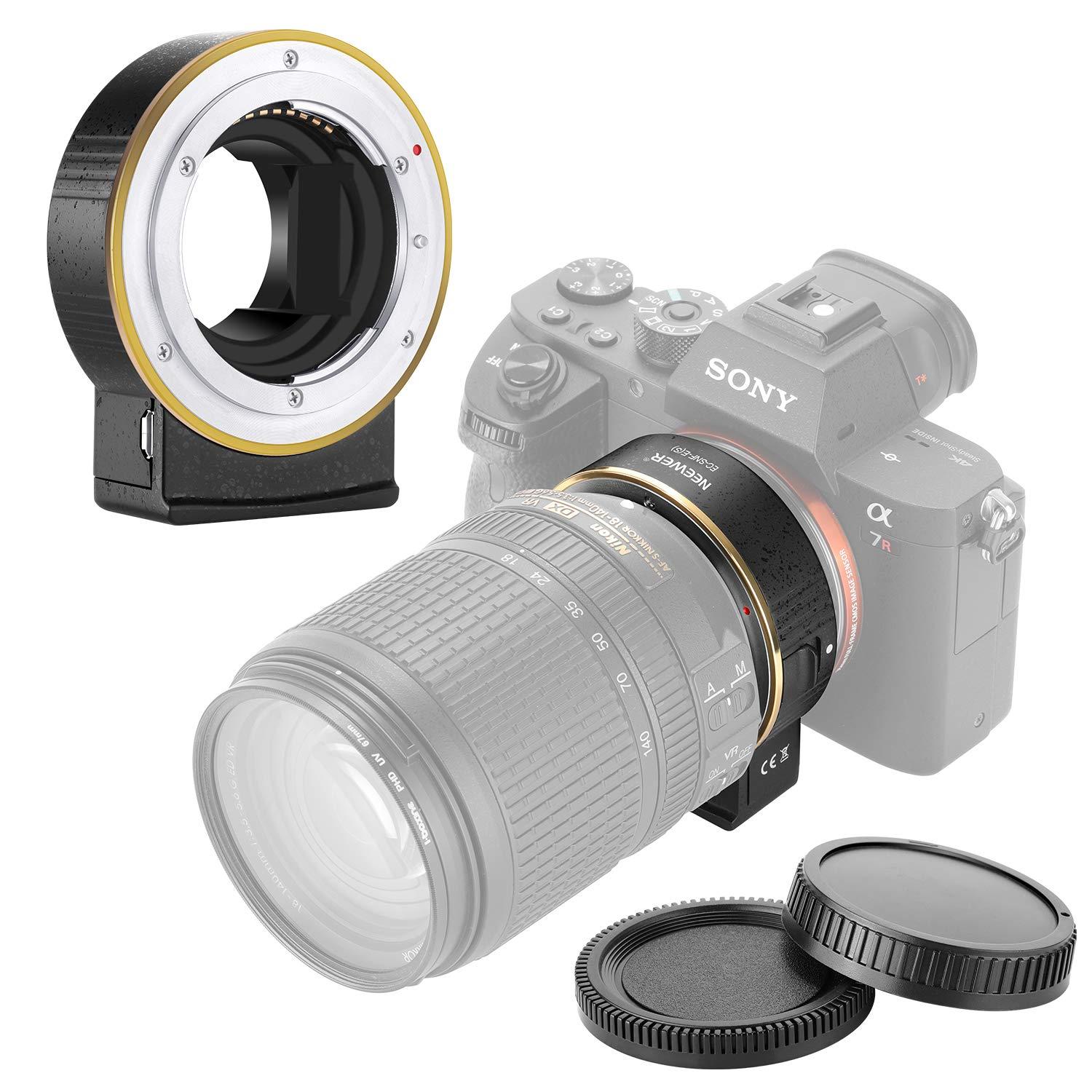Neewer Electronic AF Lens Mount Adapter Auto Focus Aperture Control Compatible with Nikon f Lens to Sony E-Mount Cameras for Sony A9/A7R3/A7R2/A7M3/A7M2/A6500/A6300/A7R/A7S2/A7S/A7/NEX7/A6000/A5100 by Neewer
