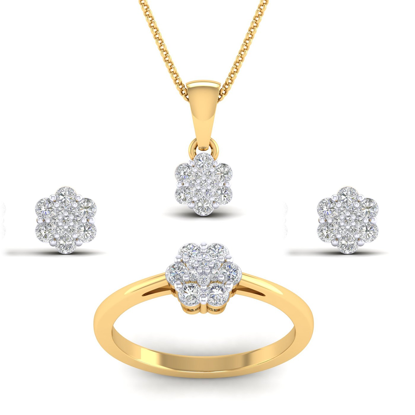 SwaraEcom 14K Yellow Gold Plated Round AAA CZ Flower Cluster Pendant Ring Jewelry Set for Women Thanksgiving Day Earrings