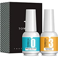 TOMICCA Top & Base Coat and Activator Set Special for Nail Powder Dip System Polish, Super Fast Drying without UV LED…