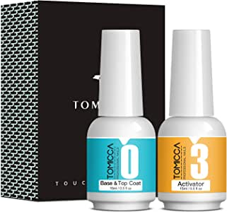 TOMICCA Top & Base Coat and Activator Set Special for Nail Powder Dip System Polish, Super Fast Drying without UV LED, Shine Finish and Long Lasting (2 x 15ml)