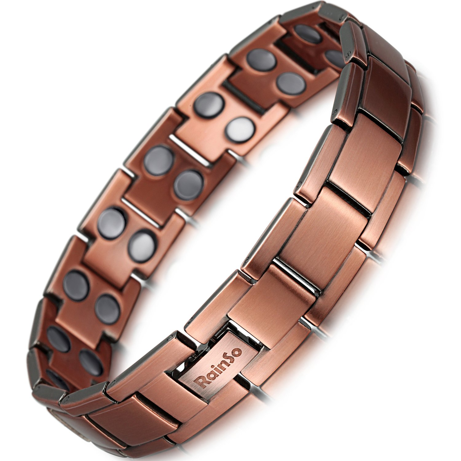 Rainso Mens Copper Double Row Magnetic Therapy Bracelets for Arthritis Wristband Adjustable OCB-147-US