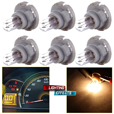 cciyu 6 Pack Warm White T5/T4.7 Neo Wedge Halogen A/C Climate Control LED Light Bulbs: Automotive