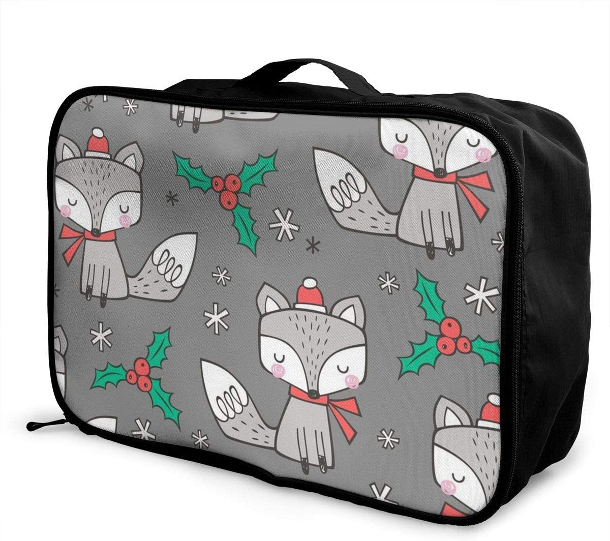 Christmas Fox Travel Carry-on Luggage Weekender Bag Overnight Tote Flight Duffel In Trolley Handle
