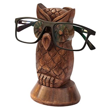 Kamla Sellers Spectacle Holder Wooden Eyeglass Stand Handmade Display Optical Glasses Accessories (Owl)
